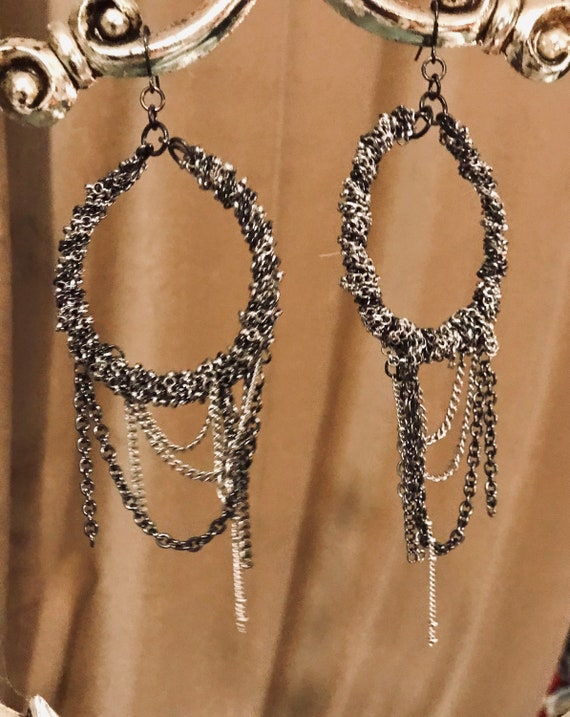 Vintage Chain Draped Giant Hoop Statement Earrings, Silver Hoops Wrapped in Draping Chain, 90s Costume Jewelry, sustainable fashion jewelry