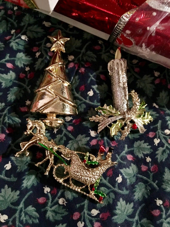 Trio of Three vintage holiday brooches Candle Sleigh & Christmas Tree