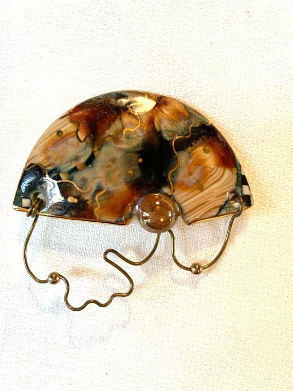 Post Modern Ceramic Lapel Pin, Mid Century Abstract Art Vintage Brooch