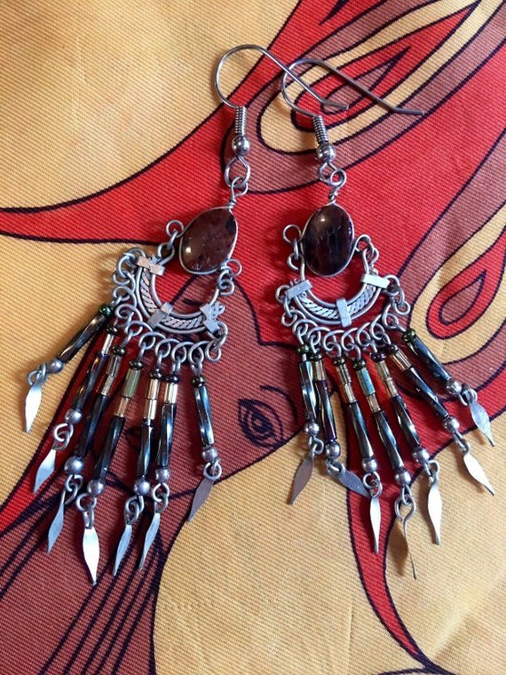 Exotic Vintage Chandelier Beaded Dangle Earrings with brown polished stones, Tribal Boho Glam Statement Earrings, Sexy 90s Jewelry