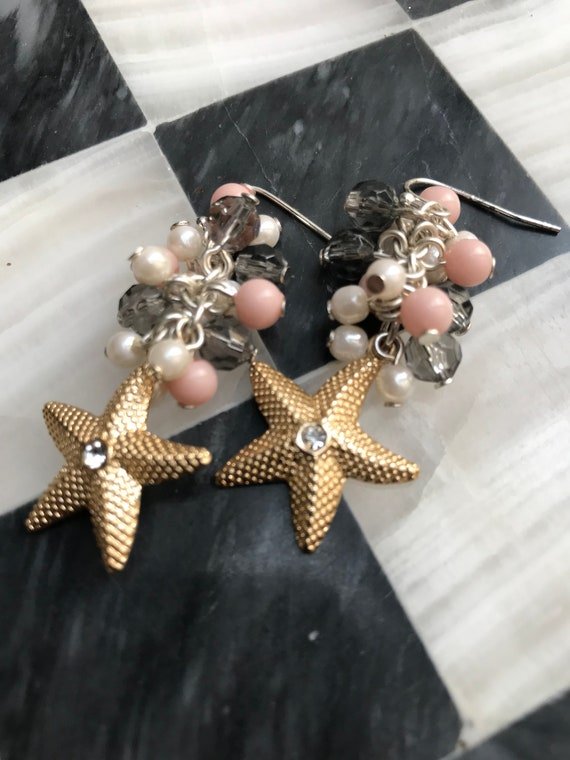 Sparkling Golden Starfish Dangle Earrings with Pretty Pink & Pearl Cluster Bead Bubbles, Vintage Mermaid Bling