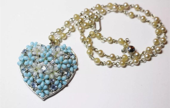 Beaded heart pendant necklace something blue with pearls too signed ART