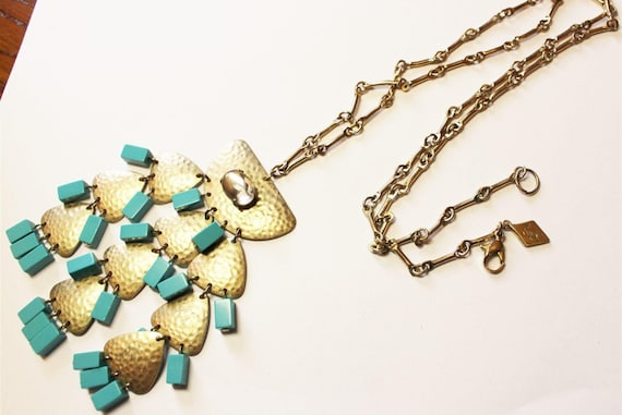 Vintage Sequin Brand Signed Pretty Golden Scales & Turquoise Lucite Modernist Pendant Necklace On Long Linked Chain