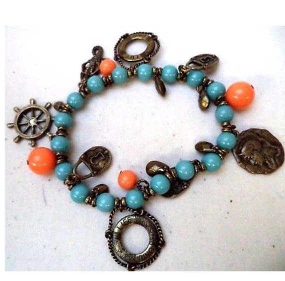 Nautical Themed orange & blue beaded Maritime Stretch Charm Bracelet Life Saver treasure love locks Neptune Mermaid