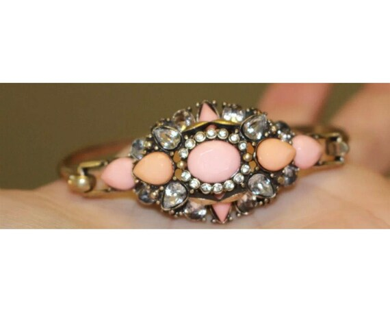 Victorian Revival Pink & Goldtone Sexy Romantic Rhinestone Bracelet,  Flirty Girlish almost Burlesque 90s glamour jewelry