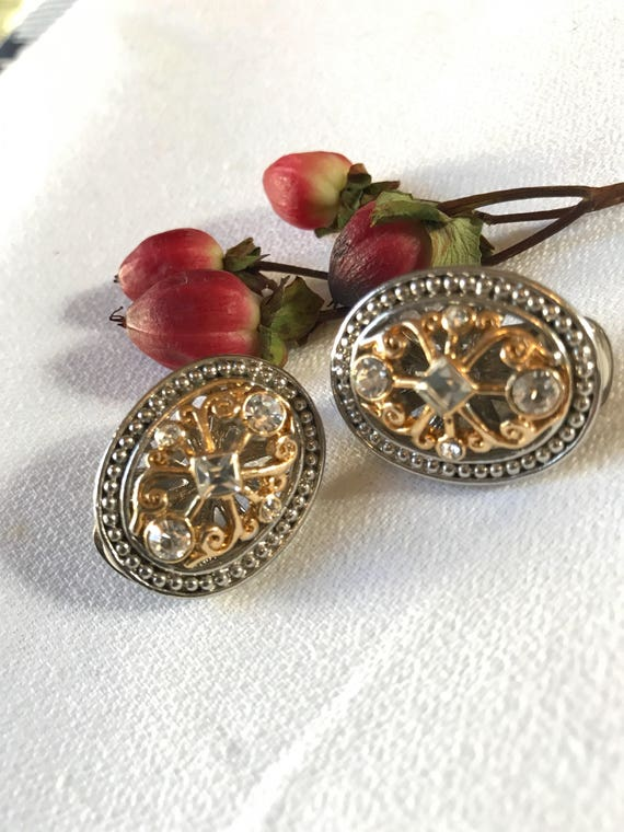Exquisite Two Tone Gold & Silver Tone Gothic Open Work Earrings with Ice Crystals Vintage Clip on Statement Earrings