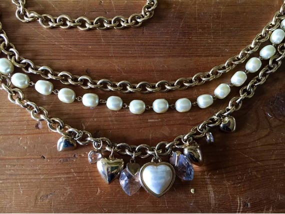 Ab Fab 3 Teir Romance themed 80's Chain Bling Charm Draping Hip Belt with Pearls Hearts & Crystals