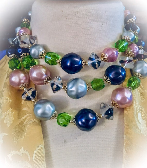 SEXY Baroque Choker statement Necklace, multistrand, Purple Silver Rose Chunky faux Pearls with Green Ice Crystals, Beaded Vintage Bling