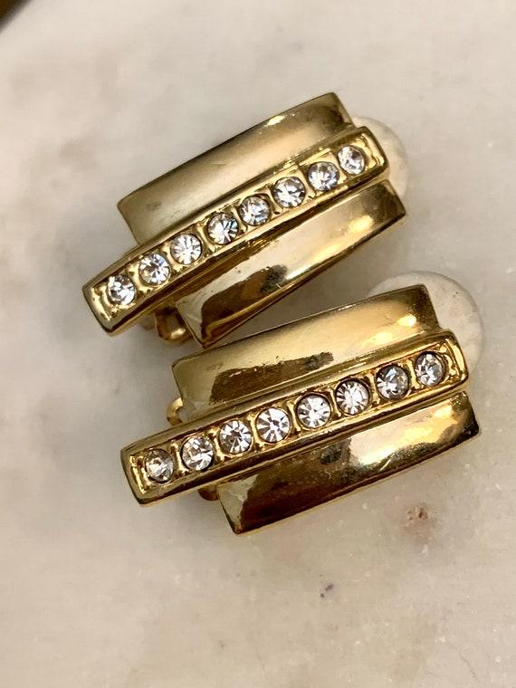 80s Glam Art Deco Rhinestone Earrings, Vintage Clip ons
