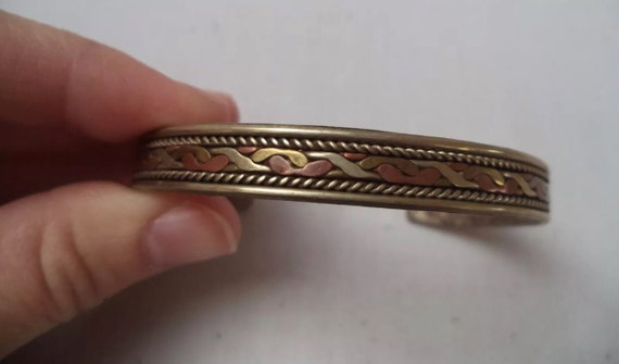 Vintage Tribal Cuff, 70s Boho Hippie Mixed Metal Bracelet
