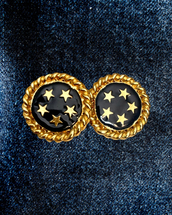 Golden Star Statement Earrings, Shiny Stars in Midnight Blue Navy Enamel with Ornate Goldtone Twisted Trim, 80s Glam, Classy Power Dressing