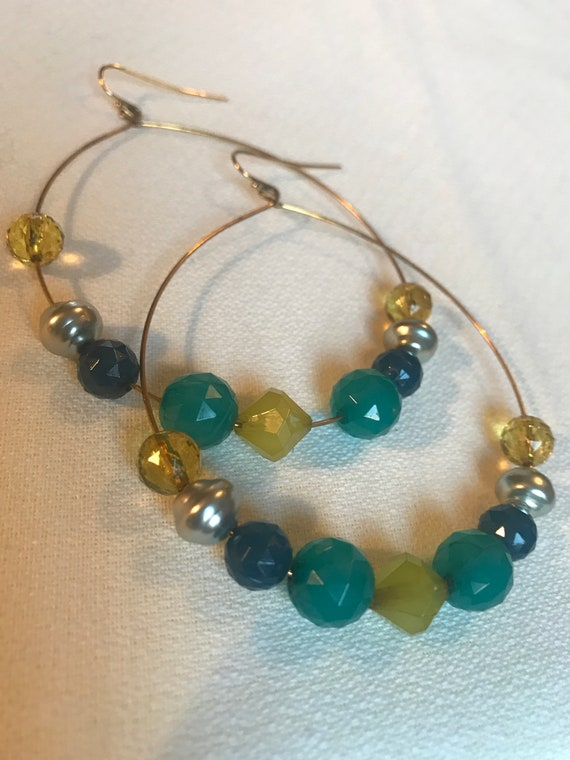 Boho Gypsy Glam Beaded Hoops, Blue Green & Silver Beaded dangle Hoop Statement Earrings, 90s dance club bling