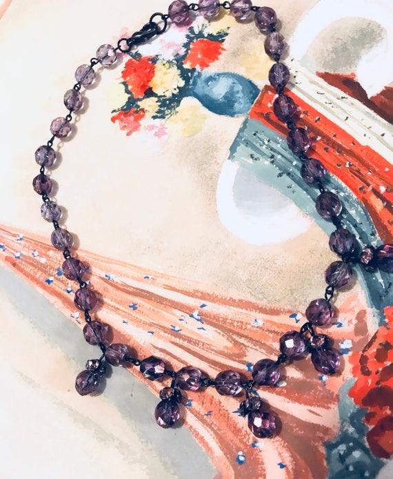 Pretty Vintage Glamour Grunge Amethyst Purple Crystal Choker Necklace