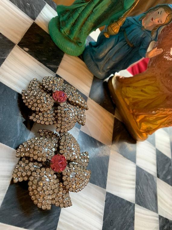 Marie Ferra Ice & Pink Rhinestone Floral Statement