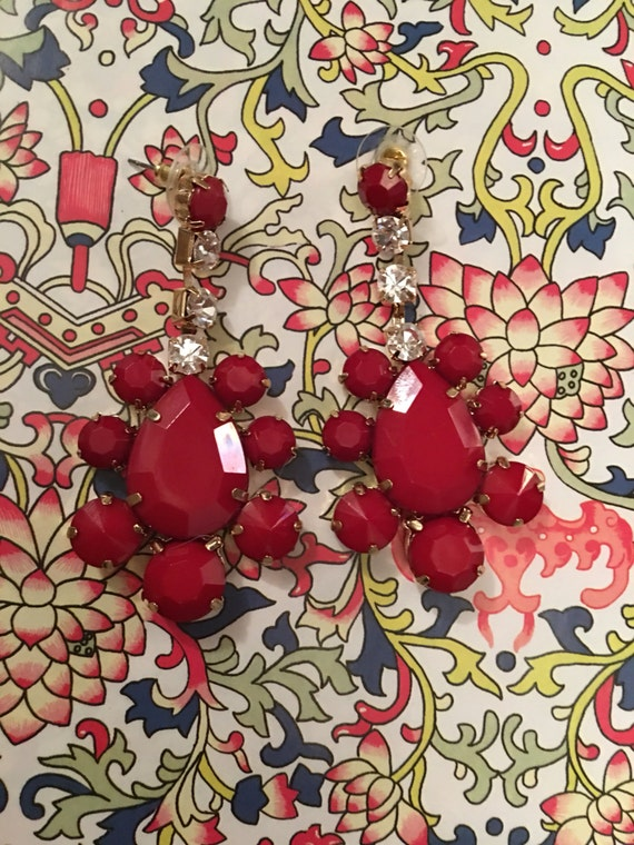 Sexy glitzy Cherry Red Lucite & Rhinestone dangle Statement Earrings