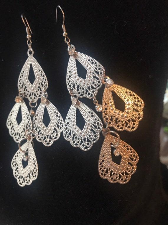 Cinematic 70s Costume Jewelry, Filigree & ice rhinestones Chandelier Dangle Earrings, Over the Top Boho Gypsy Tribal Runway Fashion Jewelry