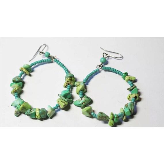 Boho Gypsy Cowgirl Southwestern Blue Green Turquoise Stone & Seed Bead hoop dangle Earrings