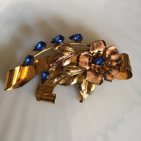 Sterling Silver Art Deco & Colbalt Blue Glass Gem Vintage Brooch, Two tone Silver and Rose gold, now trending Unisex Lapel Pin