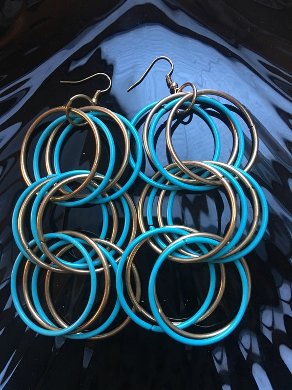 Big Bold Sexy Disco Multi Hoop Dangles, Dance the night Away in 24 Rings of beautiful Turquoise & Goldtone Vintage Hoop Statement Earrings