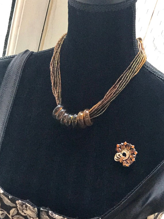 Delicious Root Beer  Lucite Choker, Multi Strands of Amber Brown Acrylic Beads bound by Seven Rings, SEXY Boho Tribal Statement Necklace