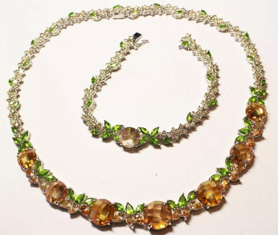 Stunning Titanium and Apricot & Green Crystal Gems Choker Necklace and Bracelet Set