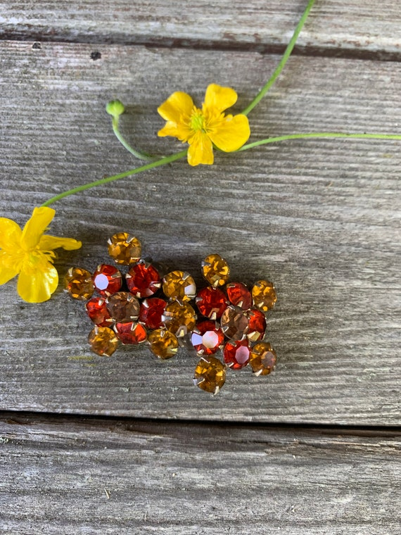 Weiss Orange & Marigold Yellow Rhinestone  Vintage Floral Earrings,  Sunburst Clip on Earrings, Collectible Mid Century Jewelry