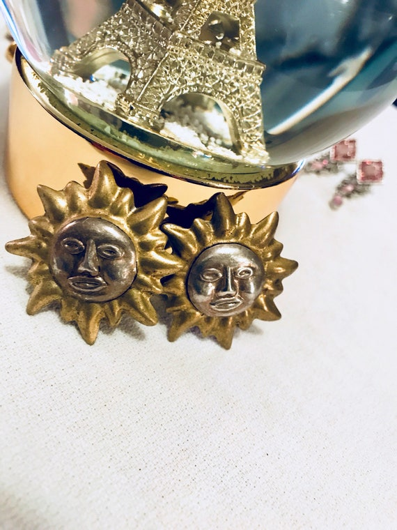 Vibrant Vintage Mexican Silver Celestial Sun Face Two tone Sunshine Clip on Statement Earrings