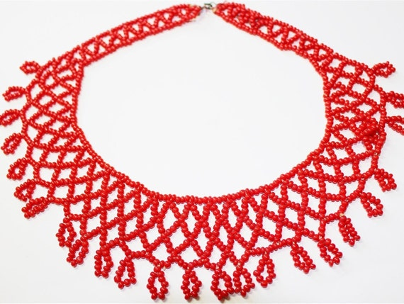 Valentine Cherry Red Seed Bead Collar Necklace