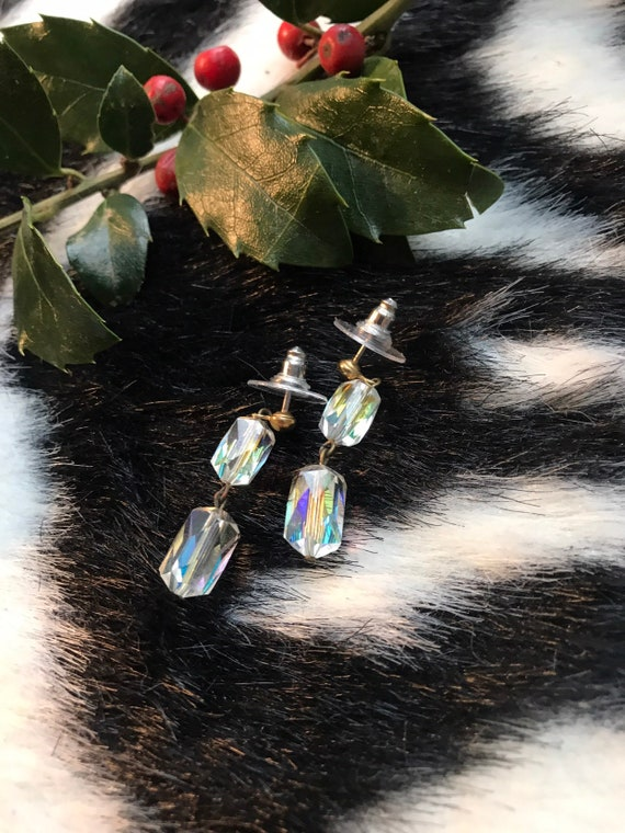 Pretty AB iridescent Ice Crystal Beaded Dangle Earrings