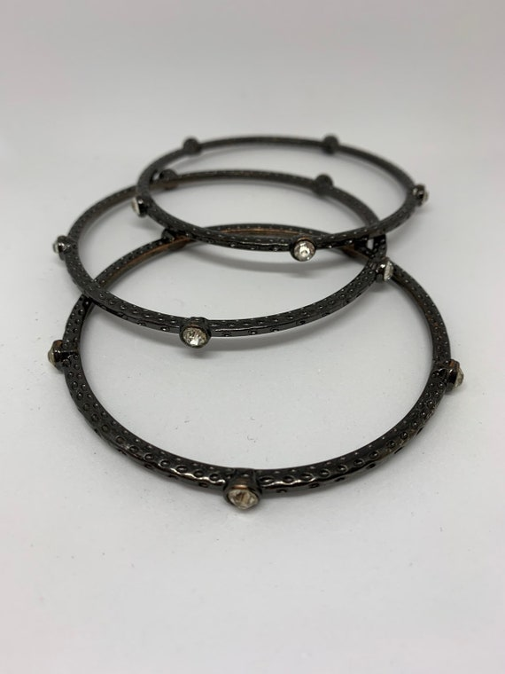 A Trio of Gunmetal & Rhinestone Gothic Bangles, Material Girl 90s Glamour Jewelry, video babe glamour grunge Bling!