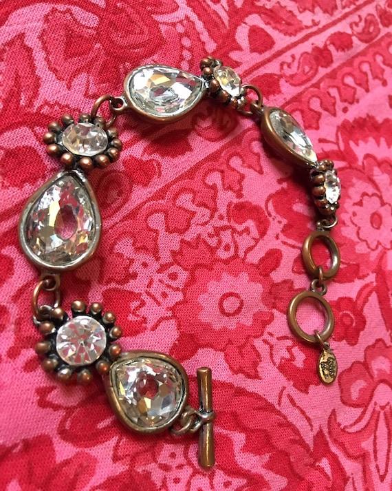 Vintage Carole Lee Poured Glass & Copper Clasp Bracelet