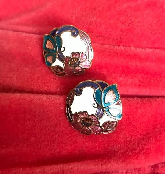 Pretty 70's Enamel Butterfly & Flower Art Nouveau Style Earrings