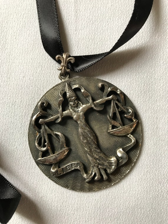 Giant Libra Zodiac Sign Medallion Pendant Necklace