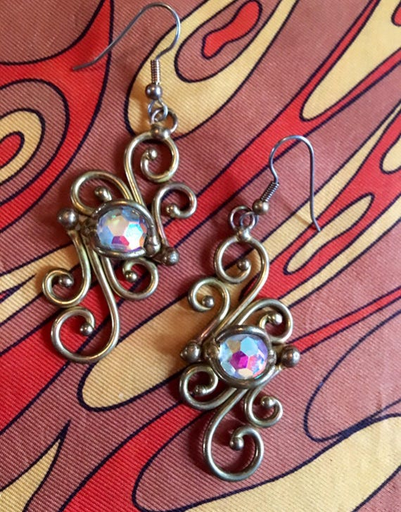 Aurora Borealis Crystals Set in Brassy Goldtone Scroll Work, Romantic 90's Glamour Vintage Dangle & Drop Statement Earrings