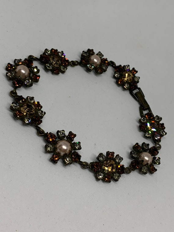 Signed Vintage Marie Ferra Rhinestone and Faux Pearl Flower Floral Bracelet