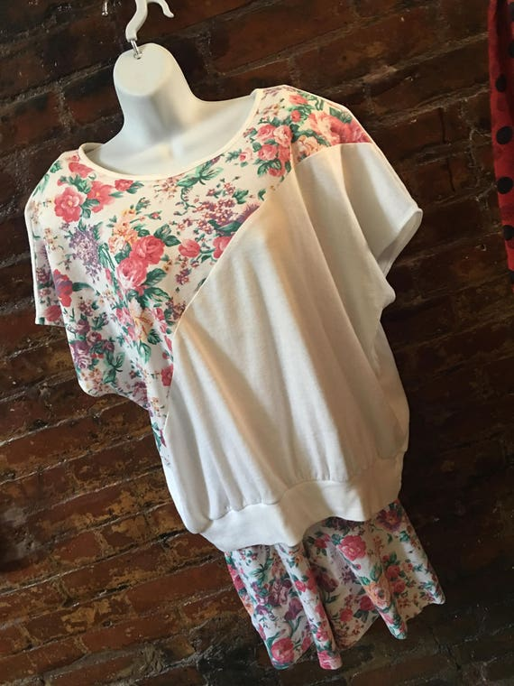 Vintage Silver Threads pink floral knit Shorts & Top set plus size 2x