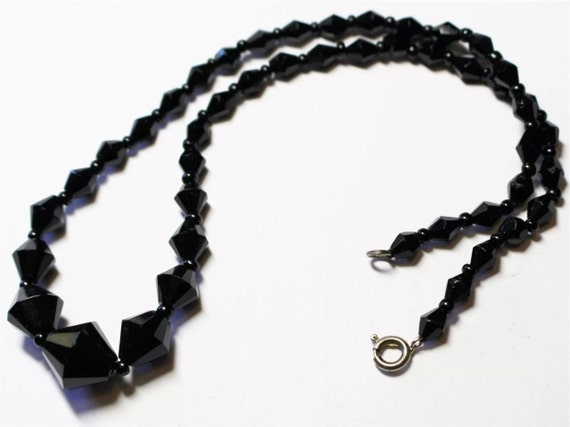 Black Crystal Beaded Vintage Necklace Choker