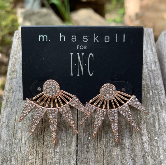 Spiked Deco Starburst M Haskell For Inc Rhinestone Statement Earrings, 90s Glamour Jewelry, Still on Original Card