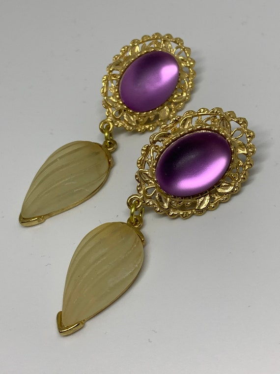 Prissy Lolita Frosty Purple Lucite Dangles, Vintage Statement Earrings, 80s Glamour Jewelry Bling