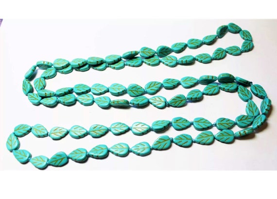 Whimsical Long lt Blue Grean Leaf Art Glass Beads