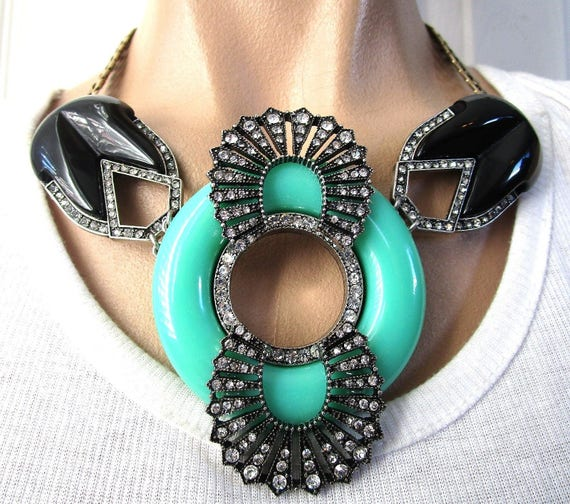 Stunning Art Deco Style Black and Green Lucite & Rhinestone Necklace