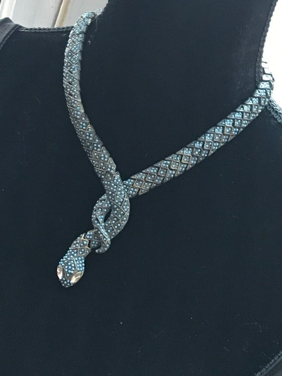 Vintage Turquoise Beaded Snake Choker, Antiqued Goldtone Coiling Serpent Necklace with Ice Rhinestone Eyes, Edgy Goth Statement Necklace