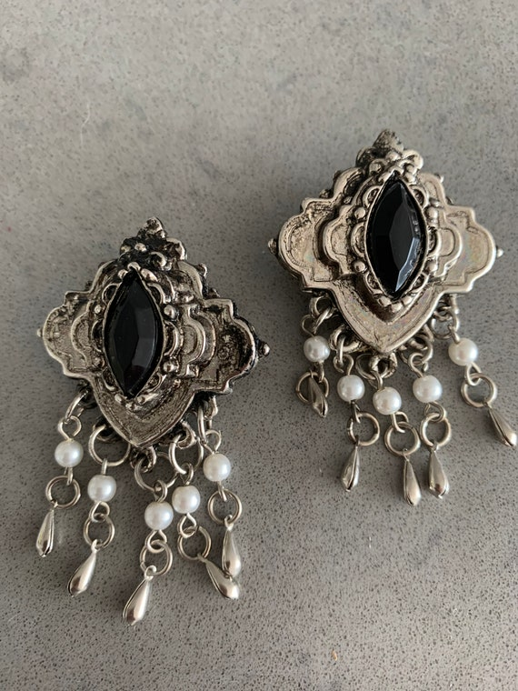Glorious Ornate Gothic Goldtone & Ruby Red Crystal Mogul Dangle Statement Earrings