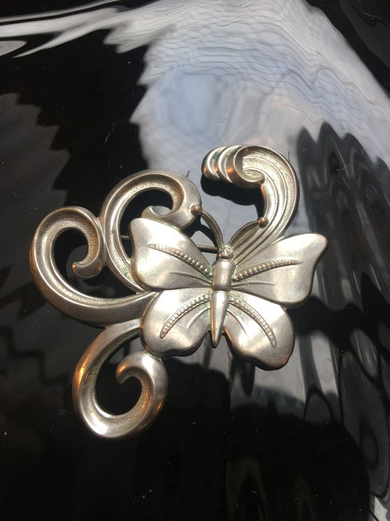 Whimsical Art Nouveau Art Deco Butterfly Brooch, Silver Tone Pressed Metal Embossing & Swirls, Fantastic Now Trending Unisex Lapel Pin!