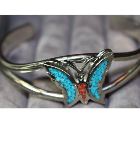Vintage Stone inlay Butterfly Cuff Bracelet reto 70's 80's Boho style