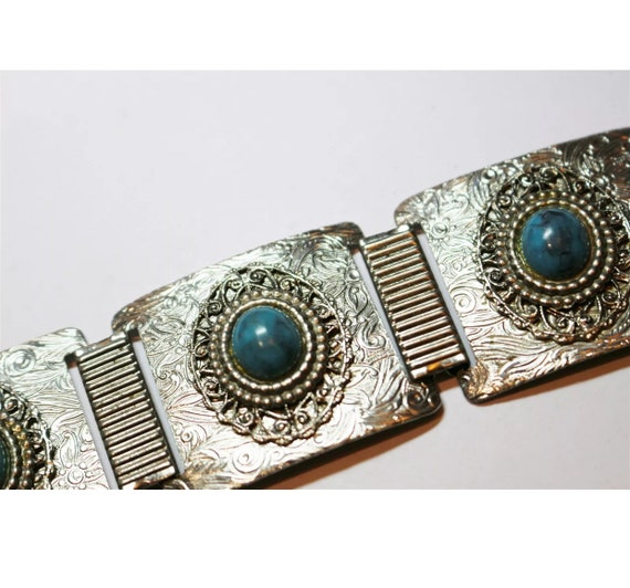 Mid Century Southwestern Costume Jewelry, Faux Turquoise & Decorative Silver Tone Panel Link Bracelet, Vintage boho tribal Indian Jewelry