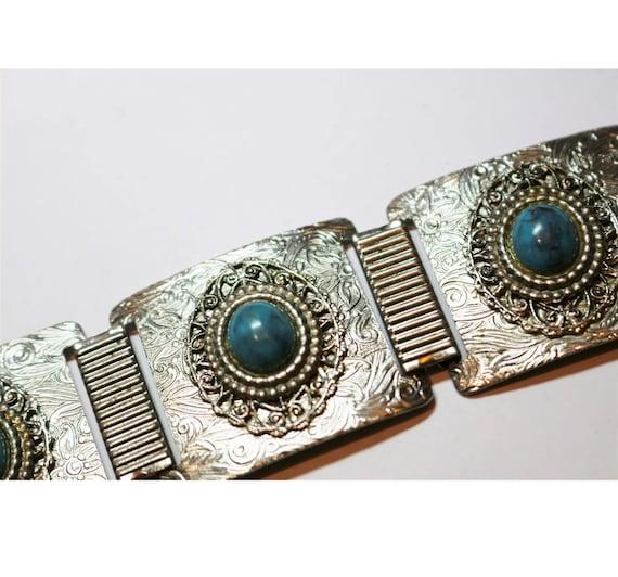 Mid Century Southwestern Costume Jewelry, Faux Turquoise & Decorative Silver Tone Panel Link Bracelet, Vintage boho tribal Indian Jewelry