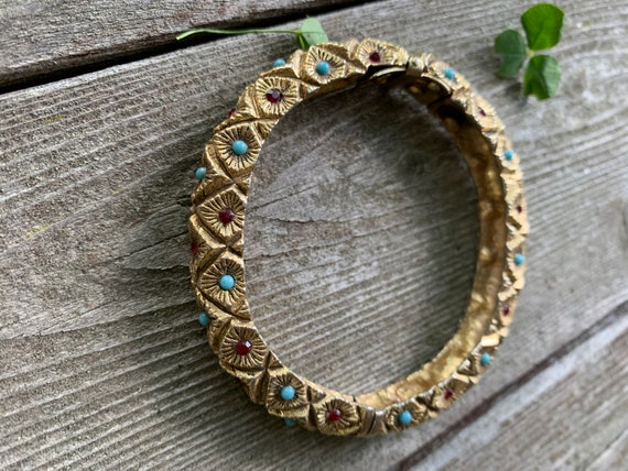 Gothic Turquoise and Garnet Beaded Regal Clamper Bangle Bracelet, Ornate 70s Costume Jewelry