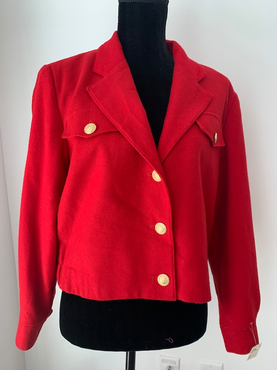 Bill Blass Cherry Red Bomber with Preppy Gold Buttons, Cheerful Holiday Vintage Designer Jacket,  roomy Sz 8, made in Russia