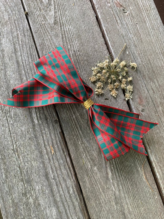 Vintage Tartan Plaid Hair Bow Barrette, Super now trending, Back to School!